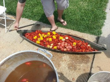 "So, New Orleans is known for it's amazing food, and one of the very famous dishes is a traditional ""crawfish boil.""  For those of you from California - you've got to try this one time in your life!"