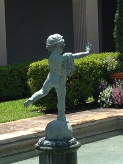 "Image is a an angel statute in the courtyard. Walking up behind it, Cassius says ""I think that statute is peeing!"""