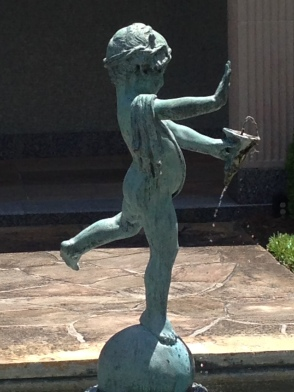 "Image is a side view of the ""accused"" peeing statute. ""Oh good,"" Says Cassius. ""A peeing angel would be weird. Is that what rain is?"""